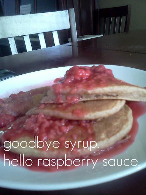 100% Whole Wheat Banana Flax Pancakes with Raspberry Sauce