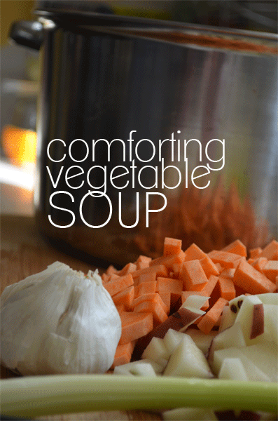 Comforting Vegetable Soup serve with crusty bread.