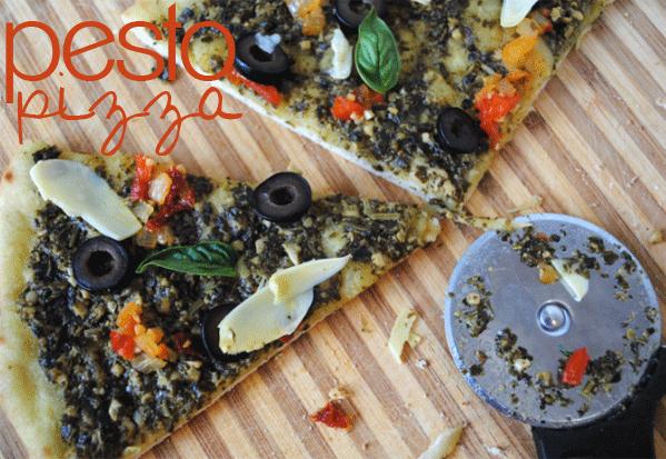 Make this 30 minute Pesto Pizza. Under 10 ingredients!