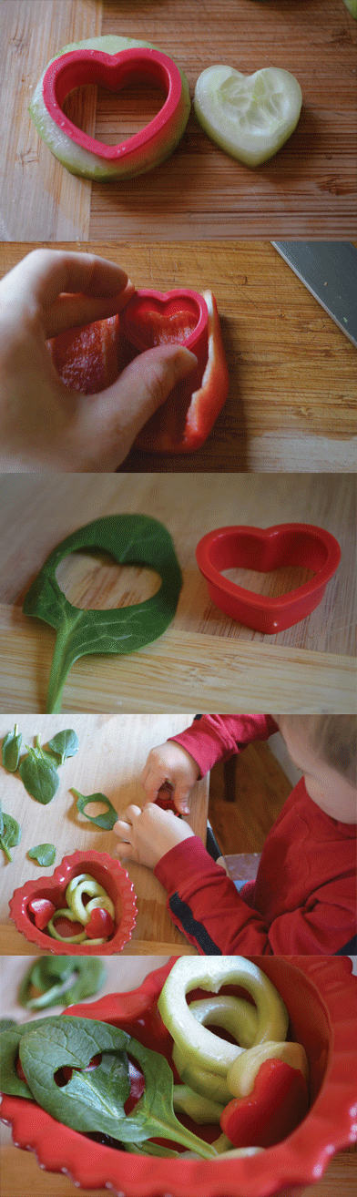 """Tossed Together With You"" Side Salad: Turn virtually any veggie into a heart using inexpensive cookie cutters. My set was under $2 from Walmart. My kids think it's pretty amazing and they chomp away. From Don't Panic Mom"