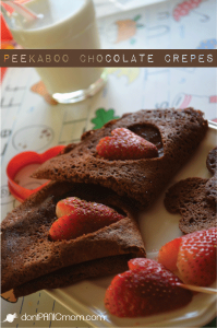 "Peekaboo Chocolate Crepes. These beauties are really easy and they even have whole grains. My 3yo said, ""I want this breakfast!"" From Don't Panic Mom"
