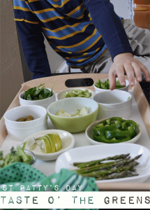 Taste O' The Greens! Make the hype of the holiday work in your favor to get your kids to try different fruits and vegetables. From Don't Panic Mom