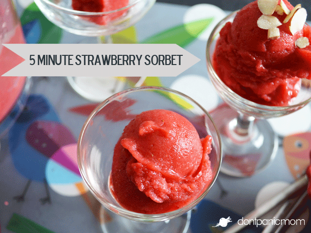 5 Minute Strawberry Sorbet - two ingredients, frozen strawberries and honey!