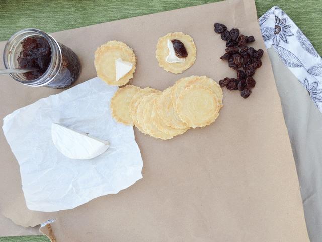 Goat's Milk Brie + Blueberry Preserves + Toasted Onion Crisps #CrackersMatter @34Degrees