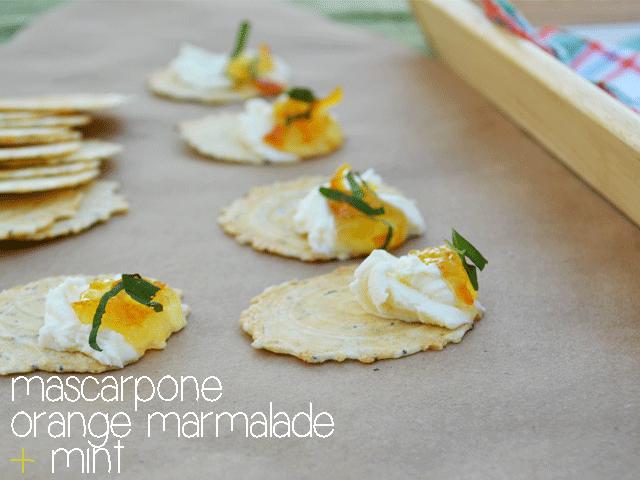 Mascarpone + Marmalade + Mint on Poppy Seed Crisps #CrackersMatter @34Degrees