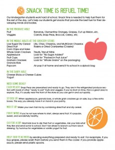 Kindergarten Snack List from Don't Panic Mom