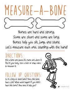 Measure-A-Bone Classroom Activity PREK - 1st GRADE