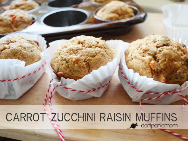 Carrot Zucchini Raisin Muffins