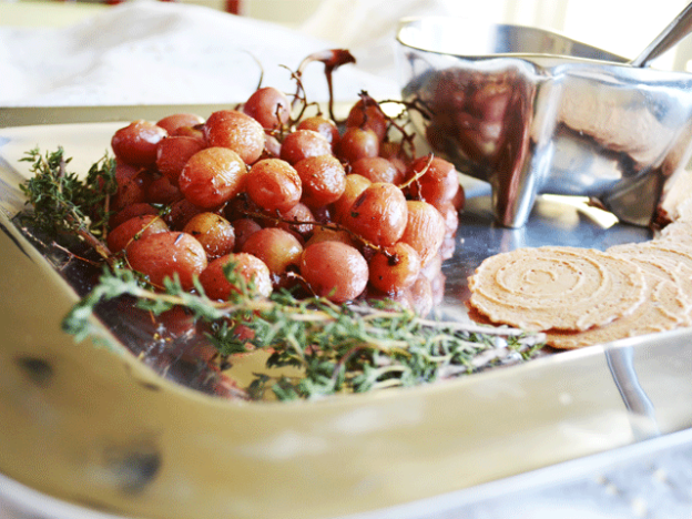 Thyme Roasted Grapes with Honey Whipped Ricotta