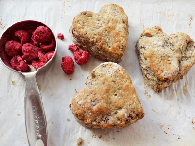 Raspberry Heart Biscuits