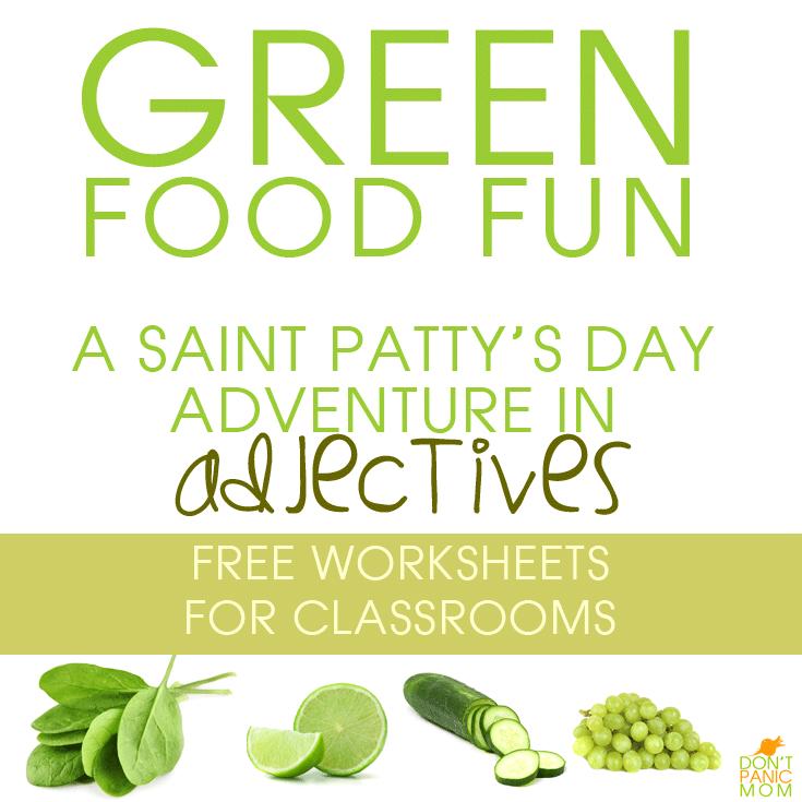 Green Food Fun - adjective worksheets for school