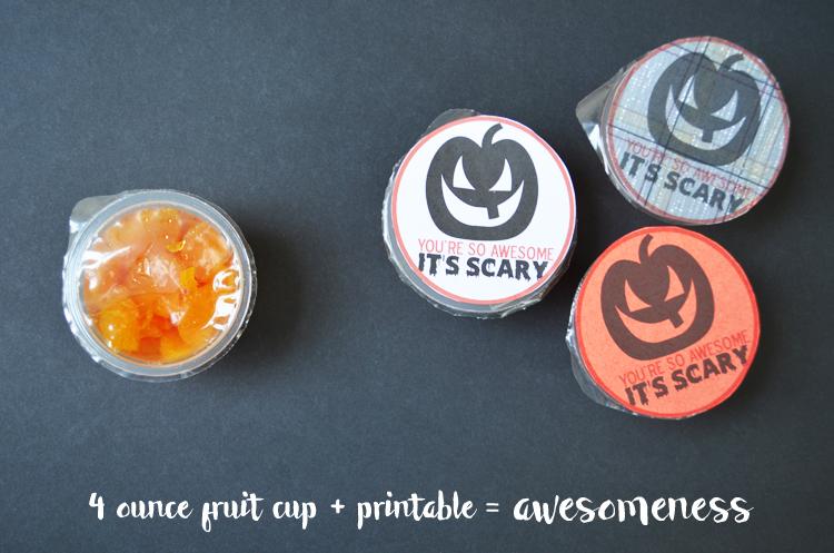(FREE PRINTABLE) Mandarin Oranges Fruit Cup Halloween Favor #Healthy #Halloween #Easy #Printable #Fruit