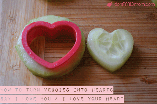 Turn virtually any veggie into a heart using inexpensive cookie cutters. My set was under $2 from Walmart. My kids love it. Score one point for health!