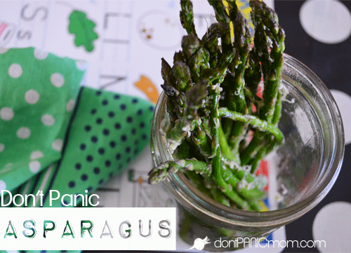 Don't Panic Asparagus. Vegetables don't have to be complicated. Here's a crowd favorite for toddlers and teens alike. Don't let veggies put you into a panic, you're only 10 minutes away from a kitchen success! From Don't Panic Mom #healthy #kidfood