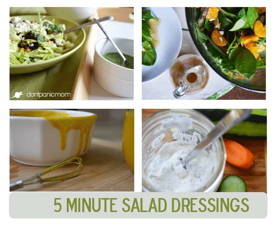 4 Salad Dressings that take less than 5 minutes to make. Citrus cilantro is my favorite.