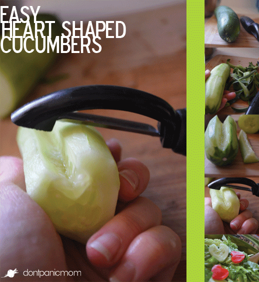 Make Heart Shaped Cucumbers for Valentine's Day Salads or stick on a toothpick for a cute plate garnish at lunch.