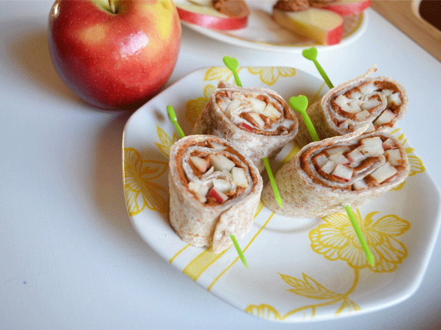 Maple Almond Butter Apple Pinwheels