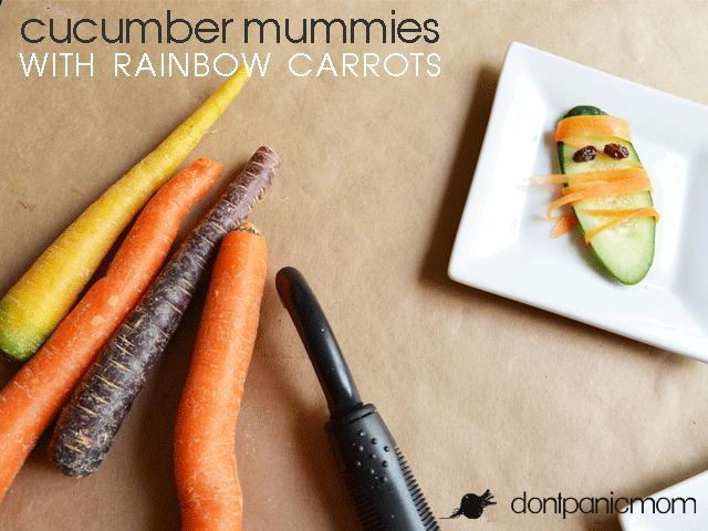 Cucumber Mummies with Rainbow Carrots | Don't Panic Mom
