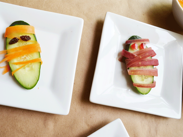 Cucumber Mummies with Rainbow Carrots