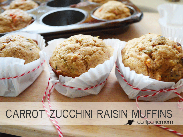 Carrot Zucchini Raisin Muffins | Don't Panic Mom