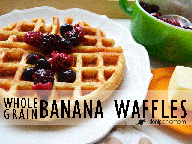Hunky Husband Waffles from Don't Panic Mom | Bananas and whole grains in a favorite breakfast!