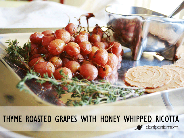 Fancy Pants Appetizer that ANYONE can make! Thyme Roasted Grapes with Honey Whipped Ricotta #crackersmatter