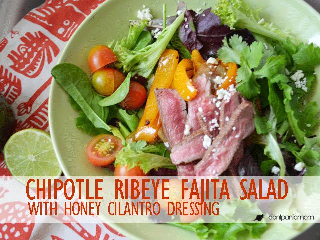 Chipotle Ribeye Fajita Salad with @Boscreek Grassfed Beef