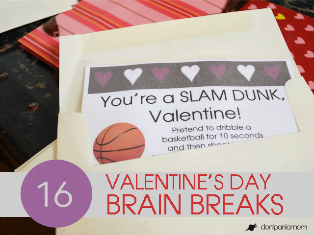 {Free Printable} Brain Breaks for Valentine's Day! #Active #Classrooms #BrainBreaks #Healthy #Kids #school