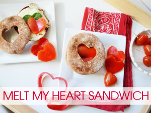 Melt My Heart Sandwich - Whole Grain English Muffin with Melted Fresh Mozz, Spinach, and Red Bell Peppers under the broiler. Makes a great lunch!