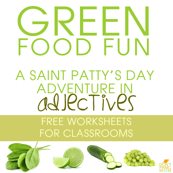 Green Food Fun - adjective worksheets for school