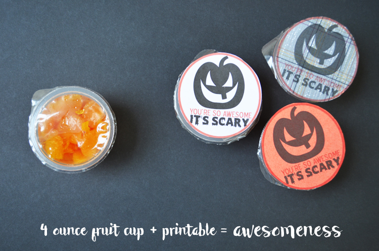 (FREE PRINTABLE) Mandarin Oranges Fruit Cup Halloween Favor #Healthy #Halloween #Easy #Printable #Fruit
