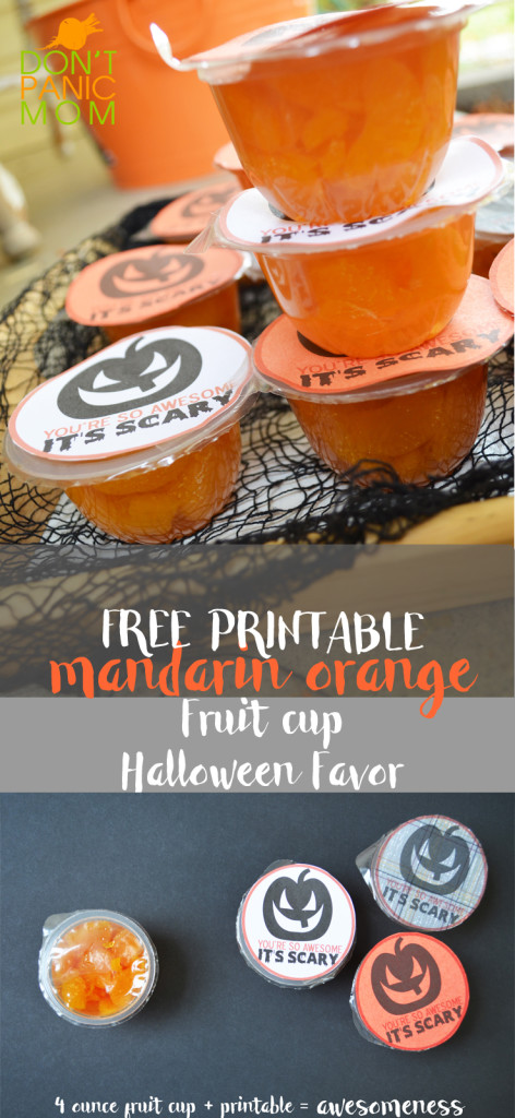 Mandarin Orange Fruit Cup Halloween Favor (FREE Printable) #Healthy #Halloween #HealthyClassroom #Fruit #Easy @dontpanicmom